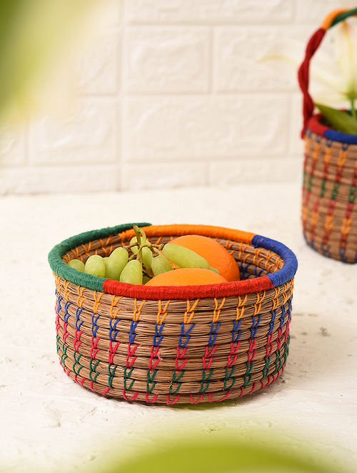 Multicolored Handcrafted Pine Needle Fruit Basket (L - 6in, W - 6in, H - 2.7in)