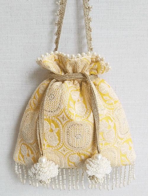 Yellow Embroidered Silk Potli
