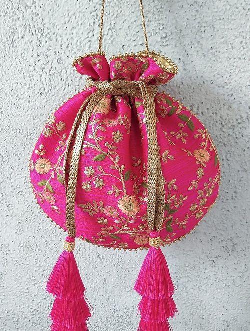 Pink Embroidered Silk Potli