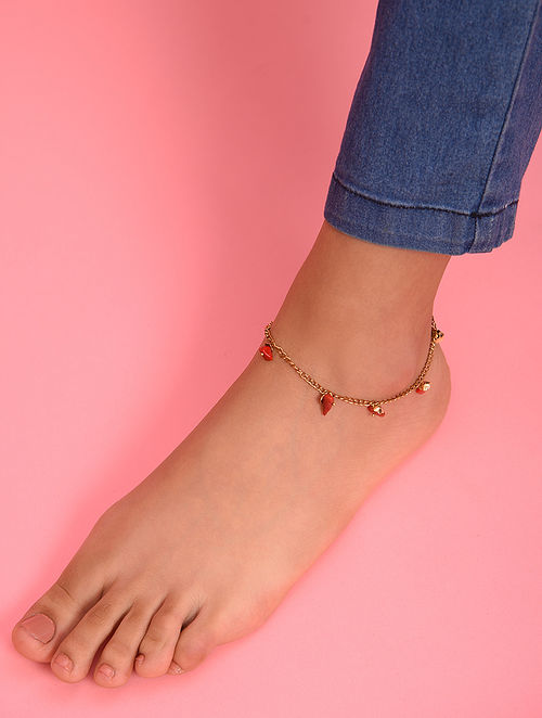 Red Gold Tone Agate Beaded Anklet