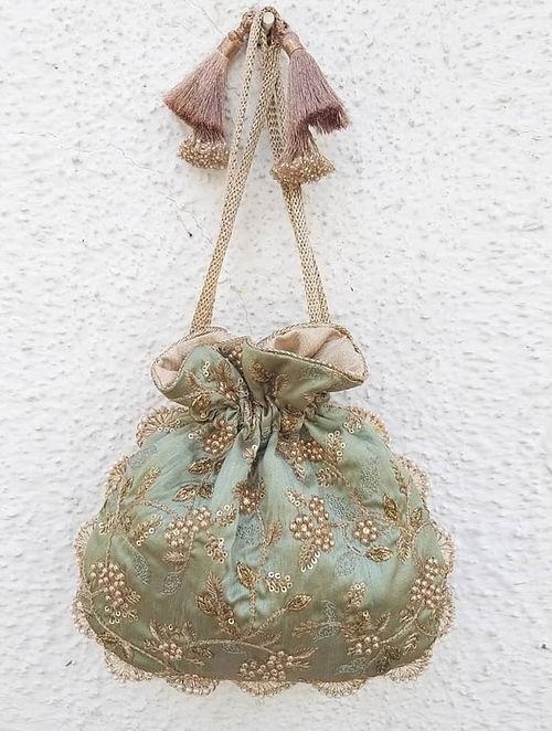 Green Embroidered Silk Potli