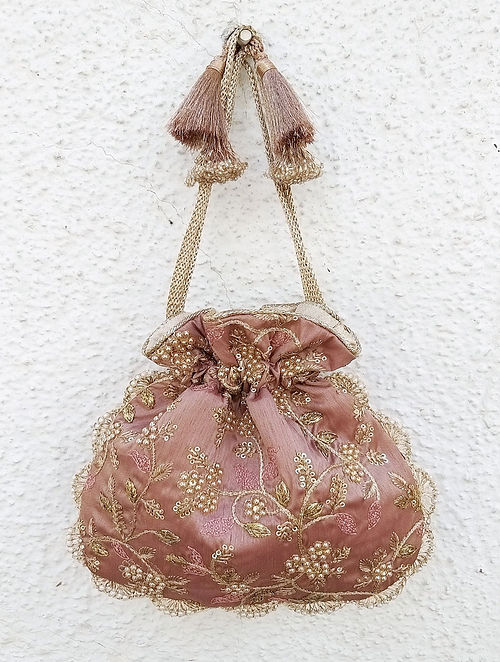 Mauve Embroidered Silk Potli