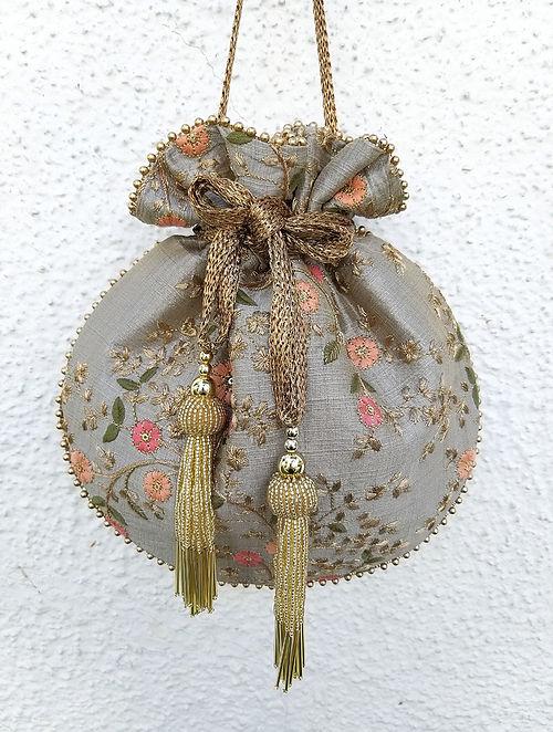 Grey Embroidered Silk Potli