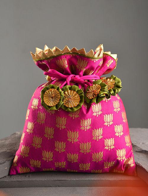 Pink Handcrafted Brocade Silk Potli