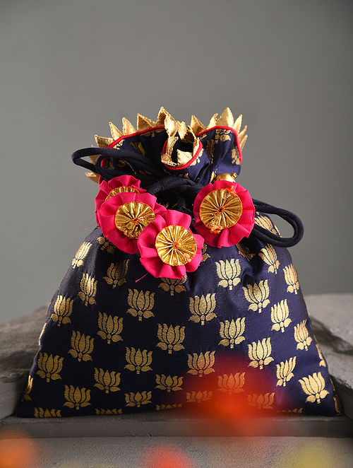 Blue Handcrafted Brocade Silk Potli