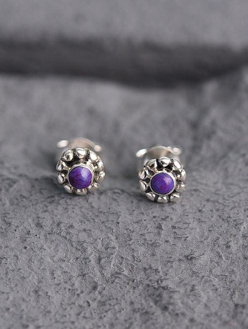 Sterling Silver Earrings with Purple Turquoise