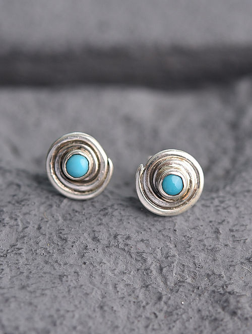 Sterling Silver Earrings with Blue Turquoise