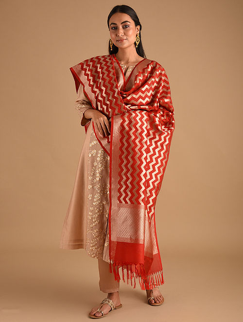 Red Handwoven Benarasi Silk Georgette Dupatta