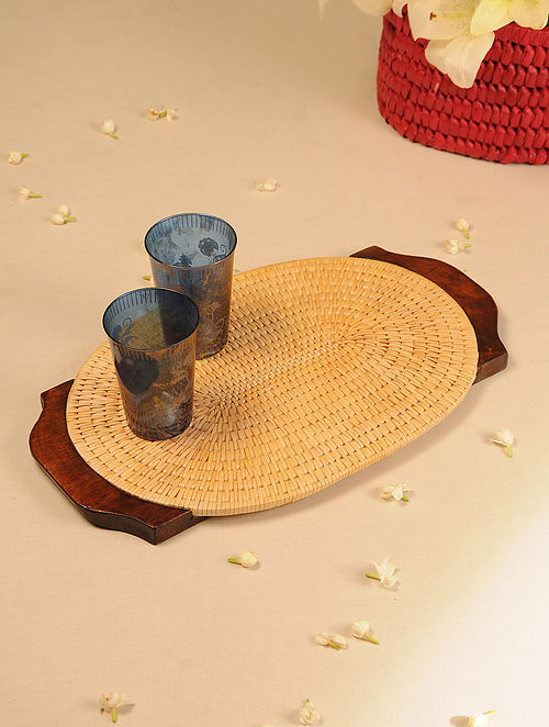 Palm Leaf Handcrafted Yellow Oval Tray (L-17.5in, W-10.6in)