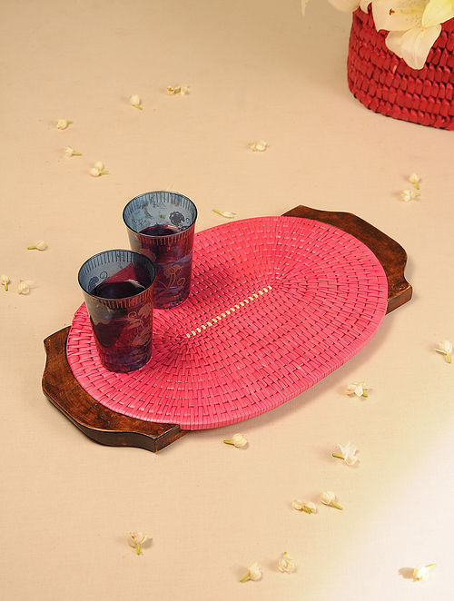 Palm Leaf Handcrafted Rose Oval Tray (L-17.5in, W-10.6in)