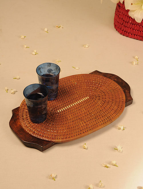 Palm Leaf Handcrafted Honey Oval Tray (L-17.5in, W-11in)