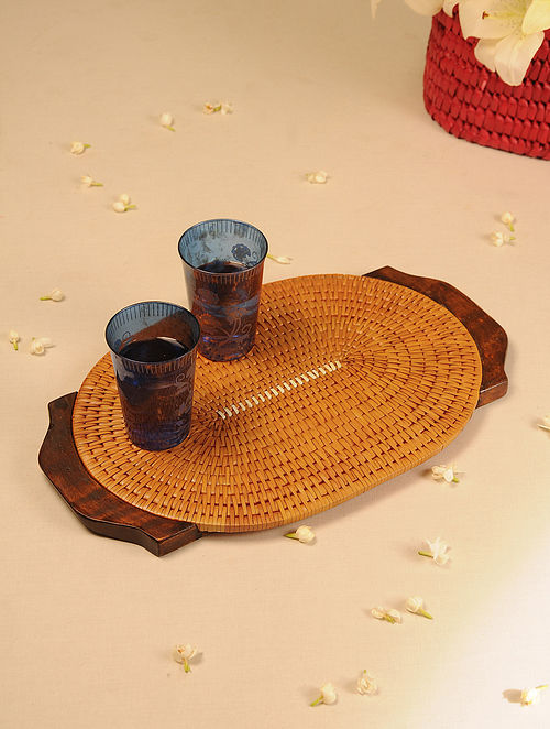 Palm Leaf Handcrafted Orange Oval Tray (L-17.5in, W-11in)