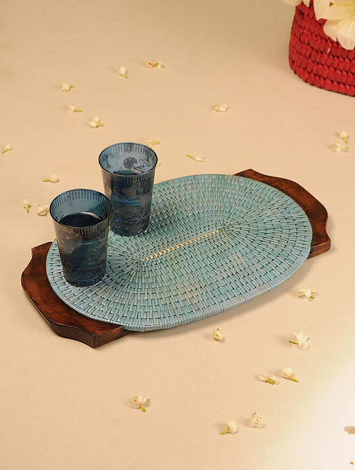 Palm Leaf Handcrafted Light Blue Oval Tray (L-17.5in, W-10.5in)