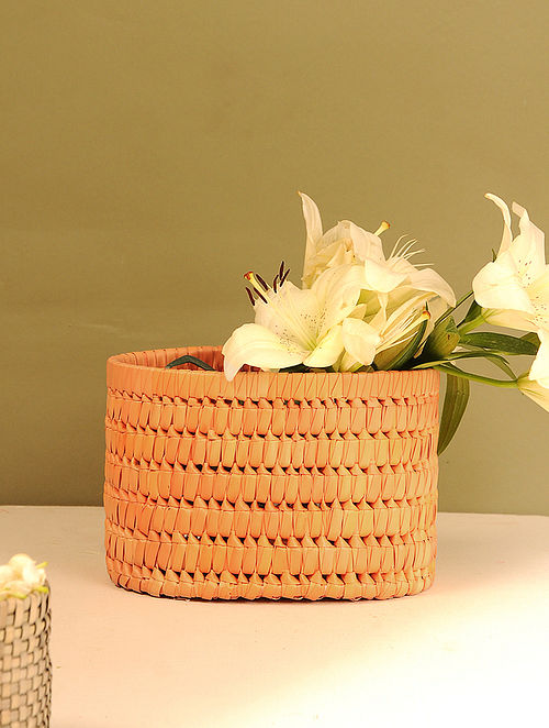 Palm Leaf Handcrafted Orange Basket (L-9.5in, W-6.5in, H-6in)