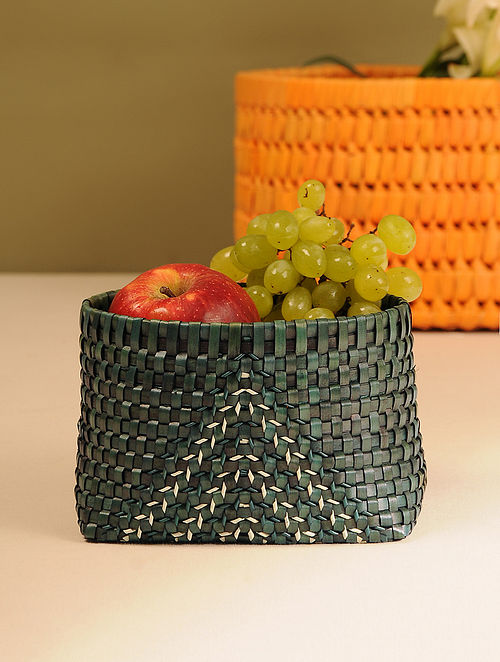 Palm Leaf Handcrafted Swamp Green Basket (L-6in, W-4.5in, H-4in)