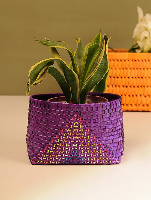 Palm Leaf Handcrafted Purple Basket (L-7in, W-5.5in, H-4.6in)