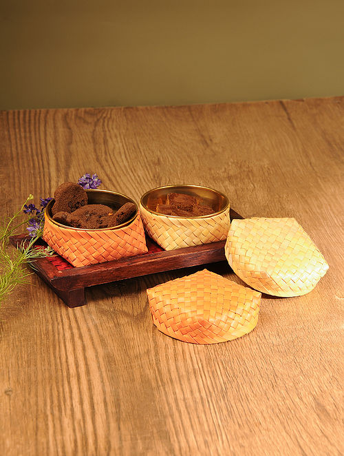 Palm Leaf Sunset Combination Coffee Table Serving set with Wooden Tray (Set of 3)