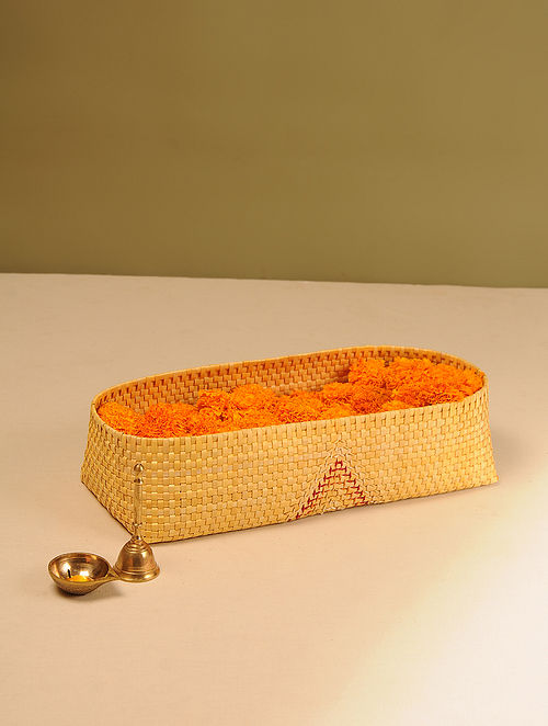 Palm Leaf Handcrafted Yellow Pooja Flower Basket (L-16in, W-6.5in, H-4in)