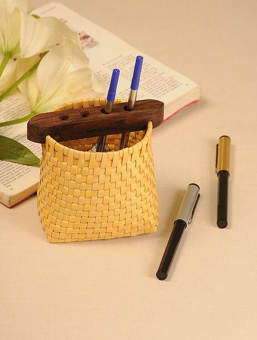 Palm Leaf Yellow Pen Holder (L - 4in, W - 3in, H - 4.5in)