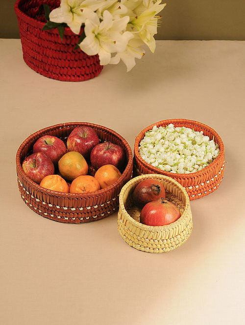 Palm Leaf Handcrafted Sunset Combination Nested Basket (Set of 3)(Dia-10in, H-4in)