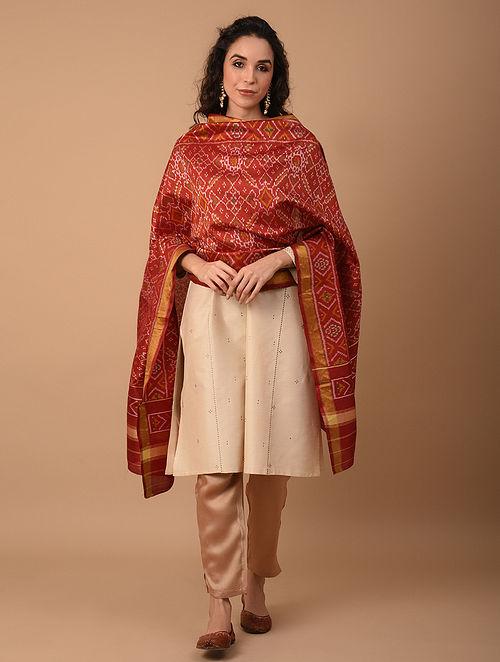 Red Handloom Silk Ikat Dupatta