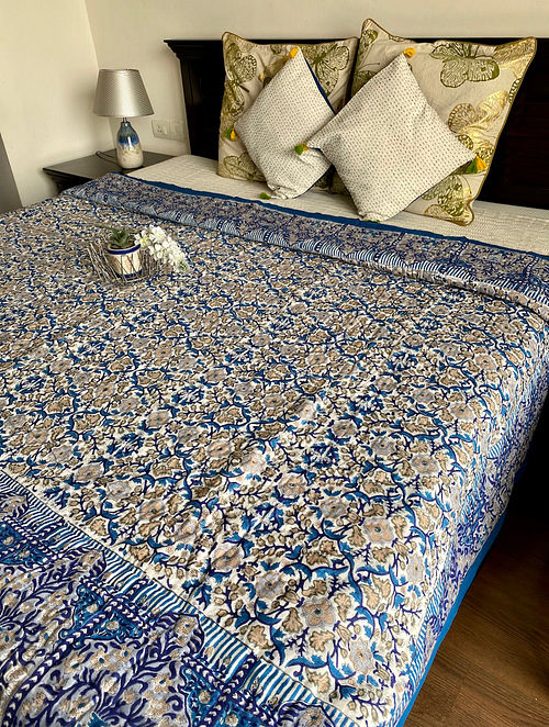 Blue and Beige Hand Block Printed And Hand Quilted Reversible Double Bed Quilt (L - 106in, W - 84in)