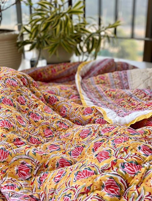 Mustard and Off White Hand Block Printed And Hand Quilted Reversible Double Bed Quilt (L - 102in, W - 86in)