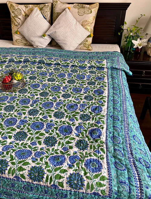 Teal Hand Block Printed And Hand Quilted Reversible Double Bed Quilt (L - 106in, W - 84in)