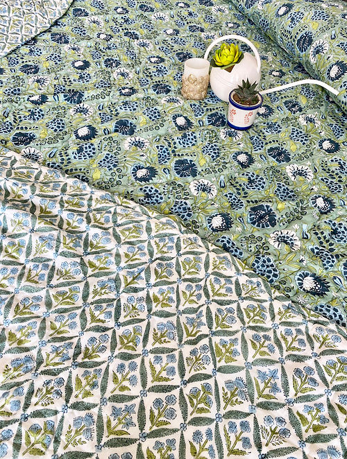 Teal Hand Block Printed And Hand Quilted Reversible Double Bed Quilt (L - 106in, W - 106in)