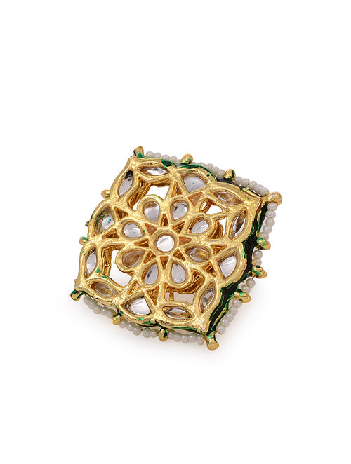 Green Gold Tone Kundan Adjustable Ring With Pearls
