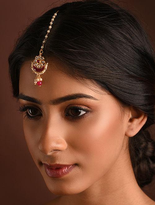 Red Gold Tone Kundan Maangtikka With Pearls