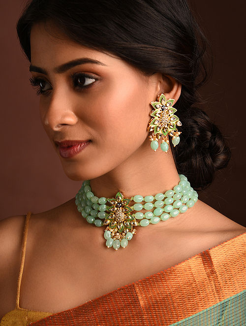 Green Blue Gold Tone Kundan Beaded Necklace And Earrings