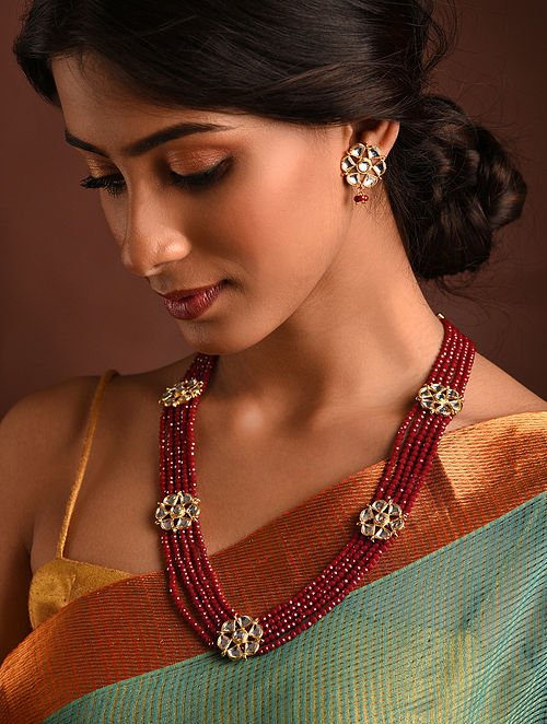 Red Gold Tone Kundan Beaded Necklace With Earrings