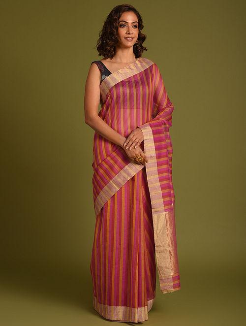 Pink Handwoven Chanderi Cotton Silk Saree