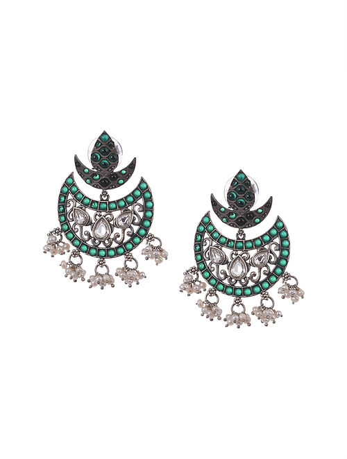Green kempstone Encrusted Temple Silver Earrings With Pearls