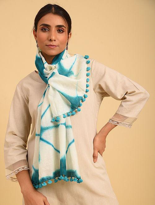Ivory Jacquard Shibori Cotton Stole