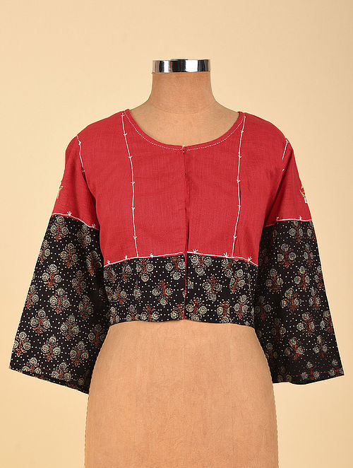 Red Hand Embroidered Semi Stitched Cotton Blouse