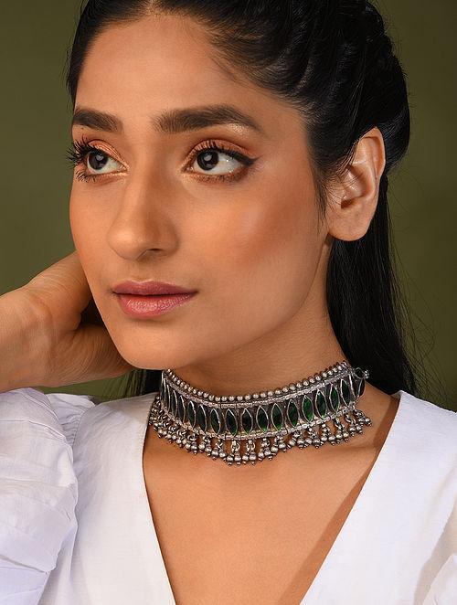 Green Kundan Tribal Silver Necklace