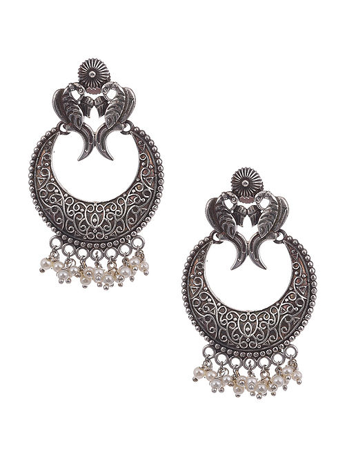 Silver Tone Tribal Earrings with pearls