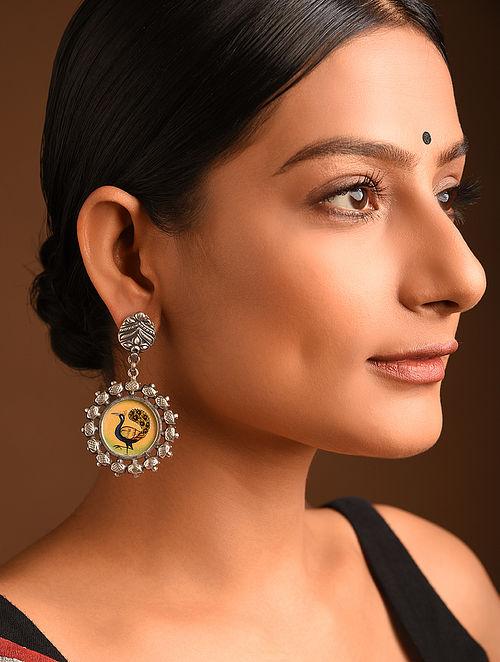 Tribal Silver Handpainted Earrings