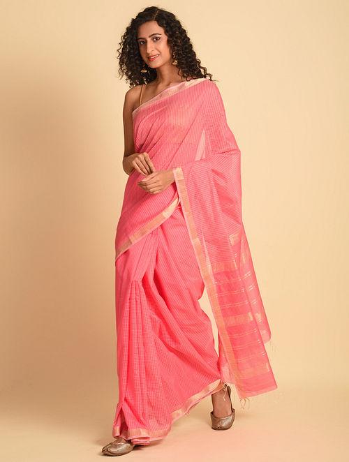 Pink Handloom Maheshwari Silk Cotton Saree
