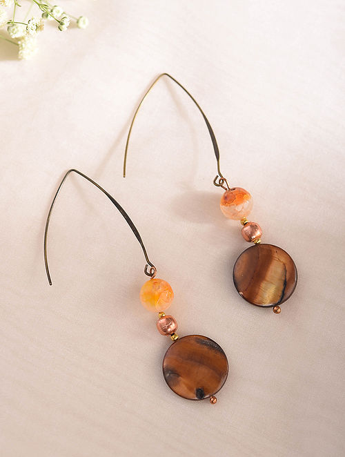 Brown Orange Handcrafted Earrings With Mother Of Pearl And Onyx