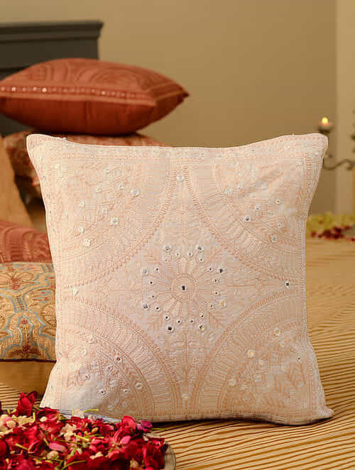 Off White Cotton Mirror Work Cushion Cover (L-16in, W-16in)
