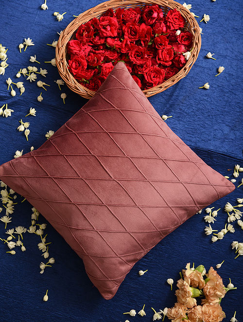 Onion Pink Velvet Cushion Cover (L-16in, W-16in)