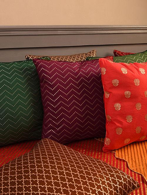 Maroon Chanderi Brocade Cushion Cover (L-16in, W-16in)
