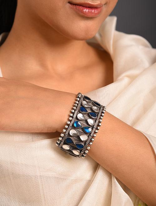 Blue White Kundan Tribal Silver Bracelet