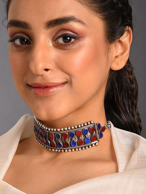 Red Blue Kundan Tribal Silver Choker Necklace