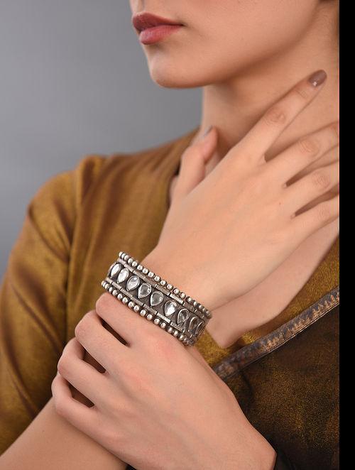 White Kundan Tribal Silver Bracelet