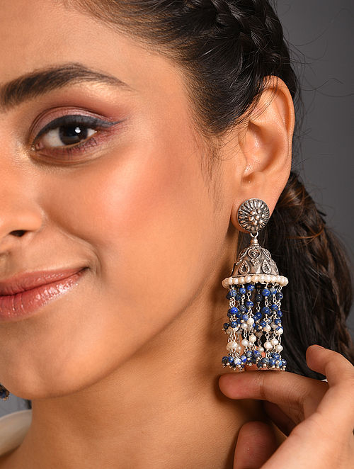 Blue White  Tribal Silver Jhumki Earring with Lapis and Pearls
