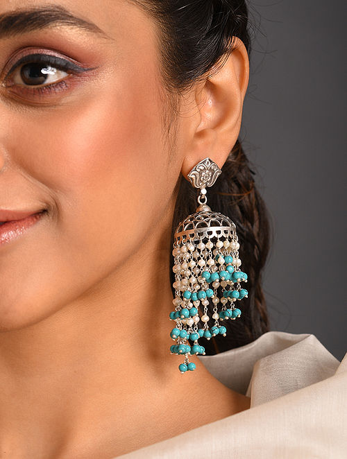 Turquoise White  Tribal Jhumki Silver Earring with Turquoise and Pearls